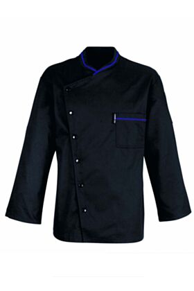 Chicago Chef Jacket - Black with Blue Piping