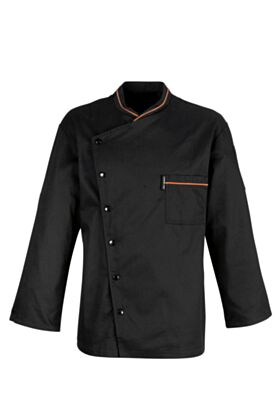 Chicago Chef Jacket - Black with Orange Piping