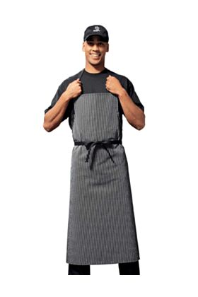Bragard Travel Bib Chef Apron Pinstriped Black / White