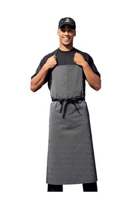 Bragard Travel Bib Chef Apron Pinstriped Black / White