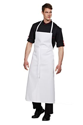 Travel Bib Chef Apron No Pocket White
