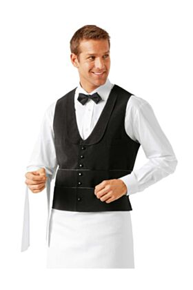 Bragard Garros - 27 Inch Long Waiter Vest - Black