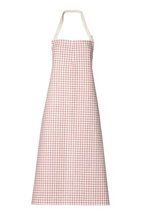 Travail Bib Chef Apron No Pocket - Red Checks