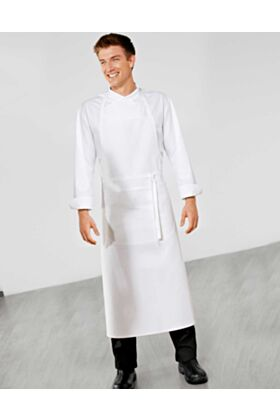 Bragard Travel Bib Chef Apron White Wide Pouch Pocket