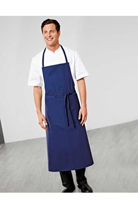 Bragard Travel Bib Apron Blue Wide Pouch Pocket