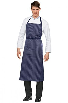 Travail Bib Chef Apron No Pocket - Blue / White Stripes